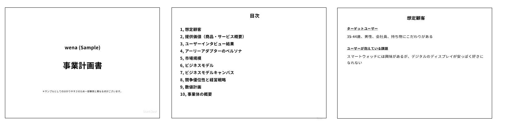 チェックリストの回答を元に自動的に作成されるドキュメント(上図は事業計画書の例)