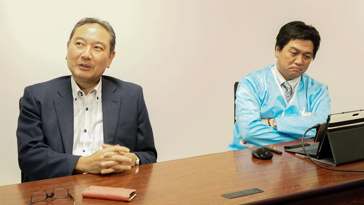 十和田オーディオ株式会社 代表取締役会長 蒲生 雅一さん、代表執行役員社長 佐藤 英幸さん
