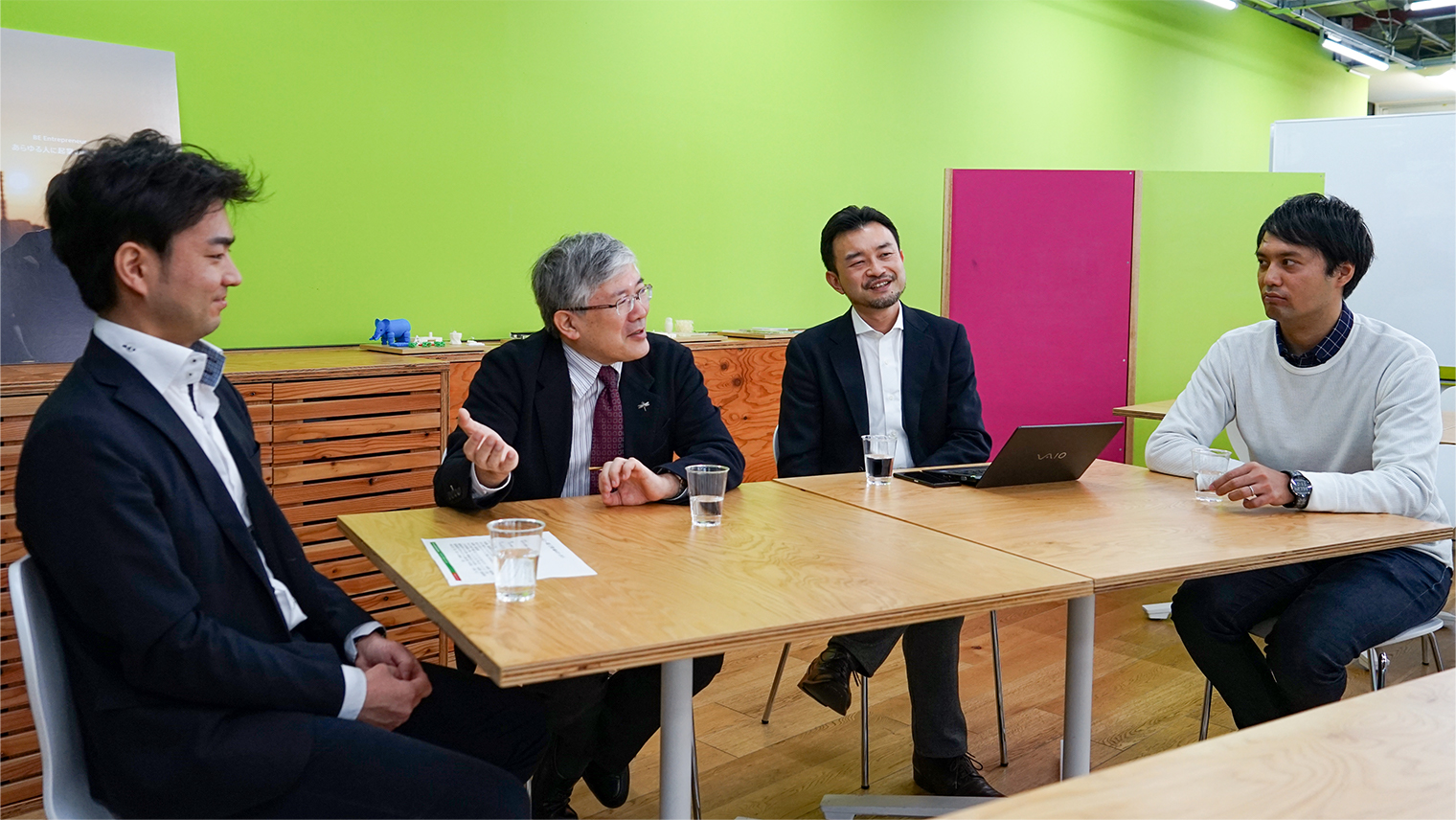 東京大学 工学系研究科の中尾教授・長藤准教授、SSAP代表小田島伸至、講座プロデューサー杉上雄紀