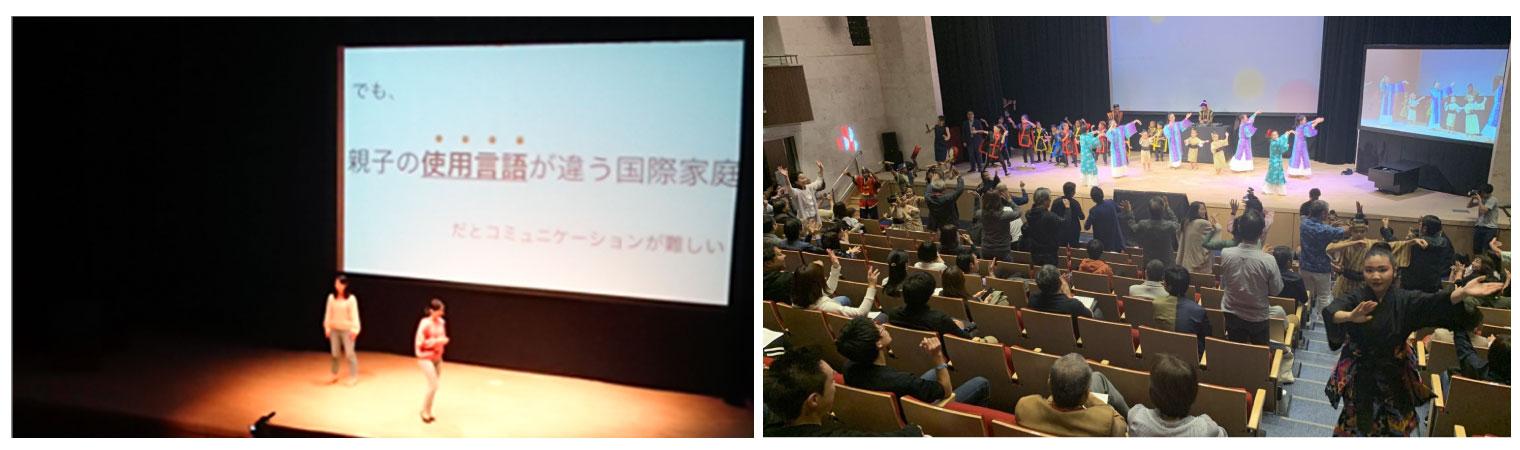 写真左:トークセッションの様子(Ryukyufrogs11期生の方々)、写真右:パフォーマンスの様子