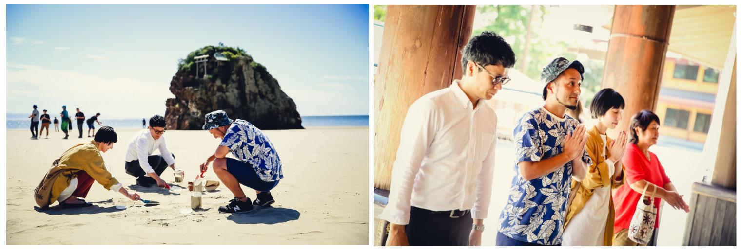 クラウドファンディング第2弾時、返礼品である「稲佐の浜御砂守り」のご利益のある御砂を採取、その後一同で出雲大社に参拝した際の様子