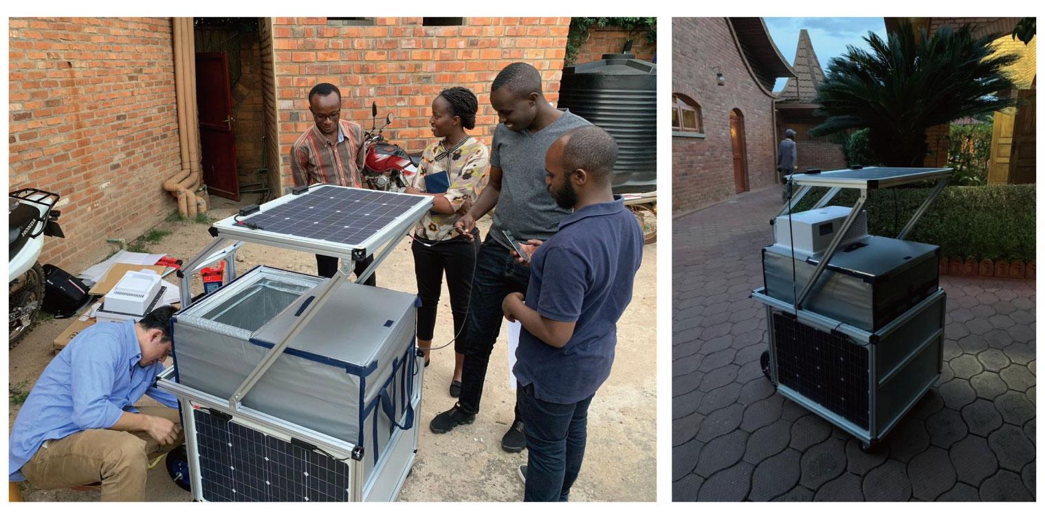 写真左:ルワンダでのプロトタイプ組み立ての様子、写真右:プロトタイプの完成形