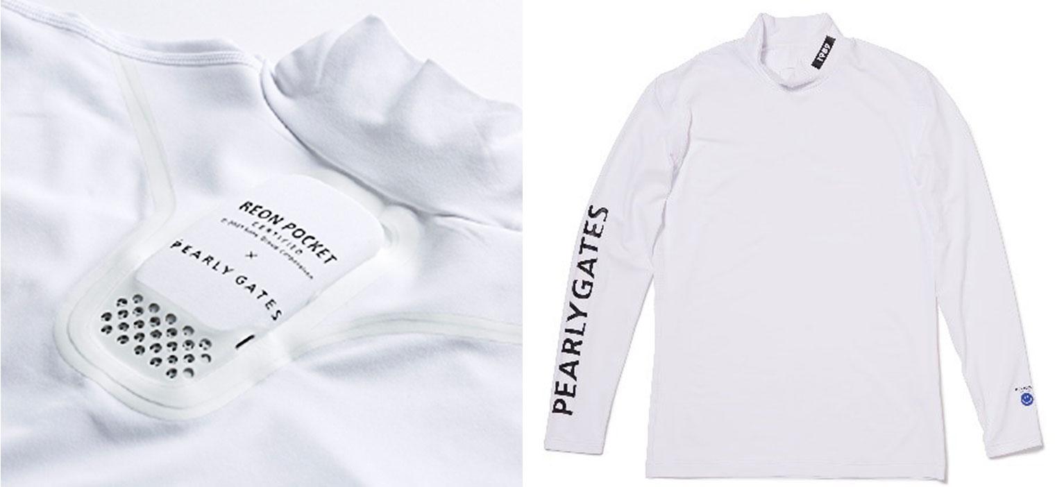 Tシャツに装着されたREON POCKETの写真と、袖にパーリーゲイツの英字がプリントされた白の長袖Tシャツの写真