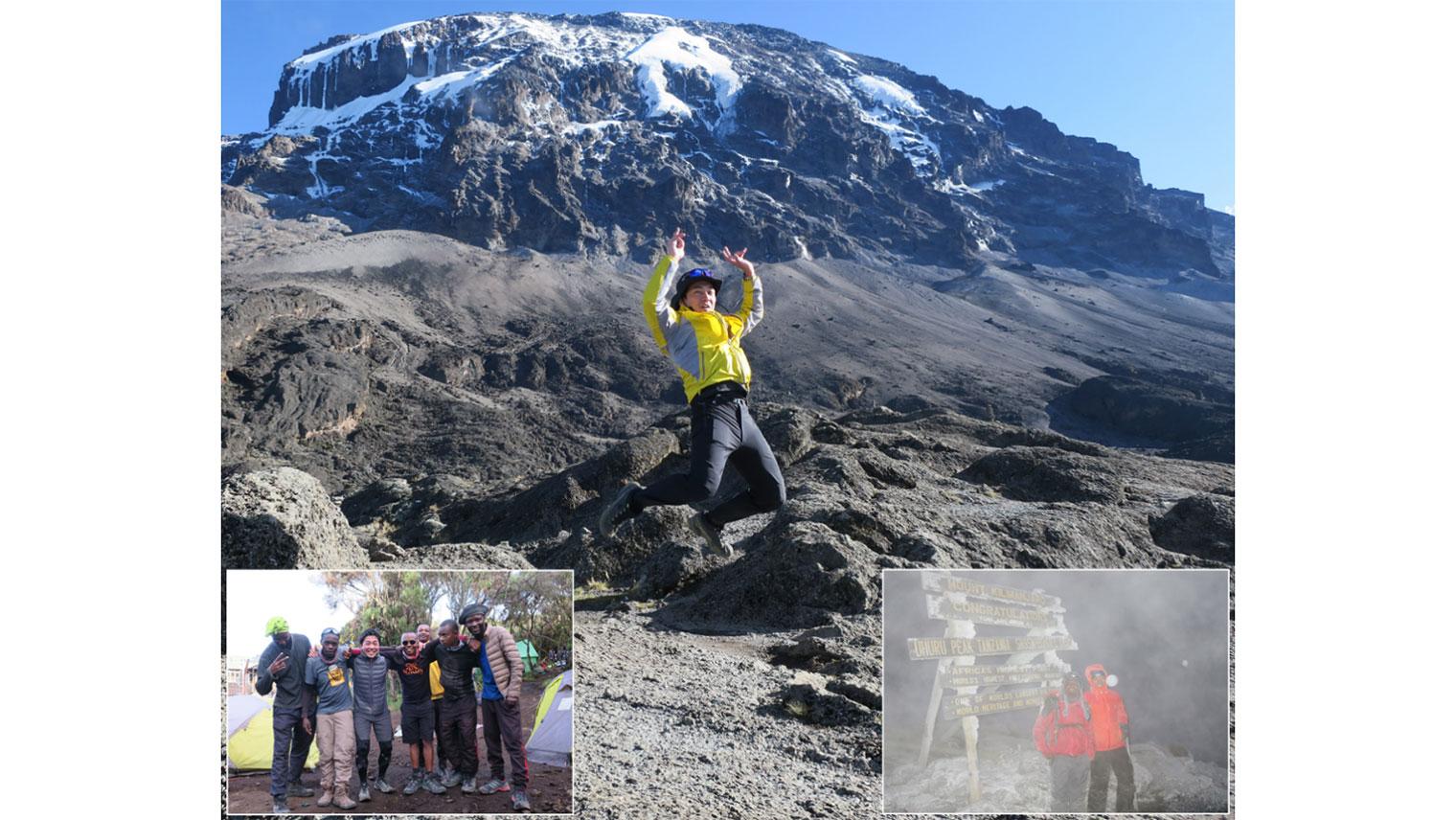 キリマンジャロの山頂でジャンプしている木村さんの写真