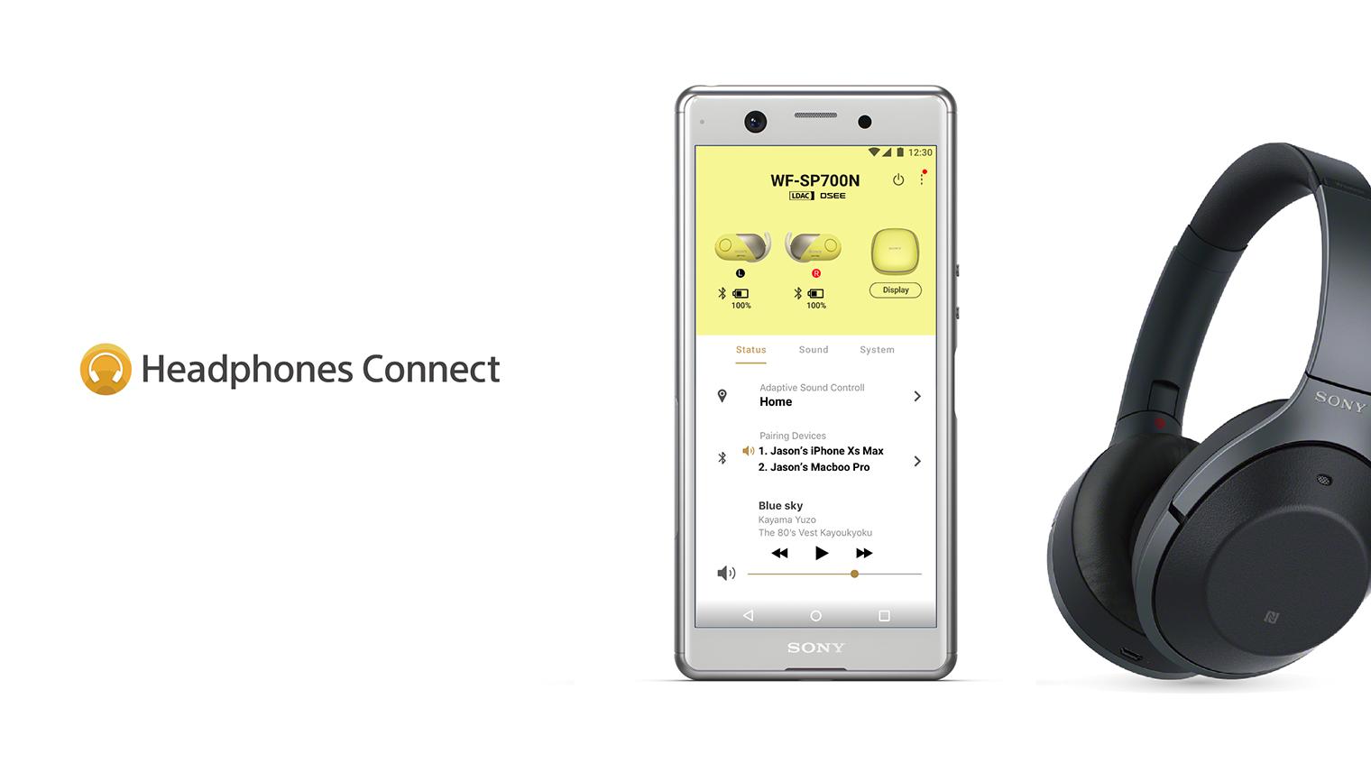 ヘッドフォンと、「Headphones Connect」のアプリがスマートフォンに表示されている写真
